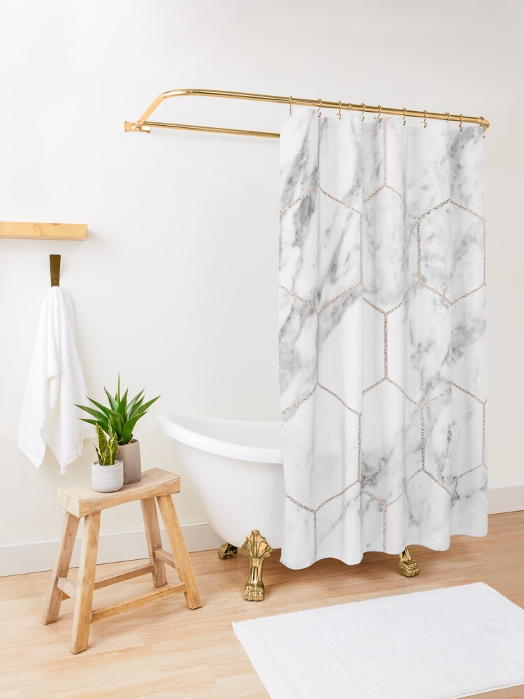 Alternate view of Rose gold and marble honeycomb Shower Curtain