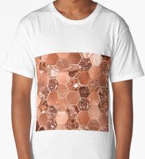 Rose gold hexaglam blonde Long T-Shirt