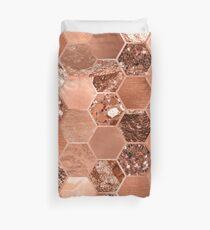 Rose gold hexaglam blonde Duvet Cover