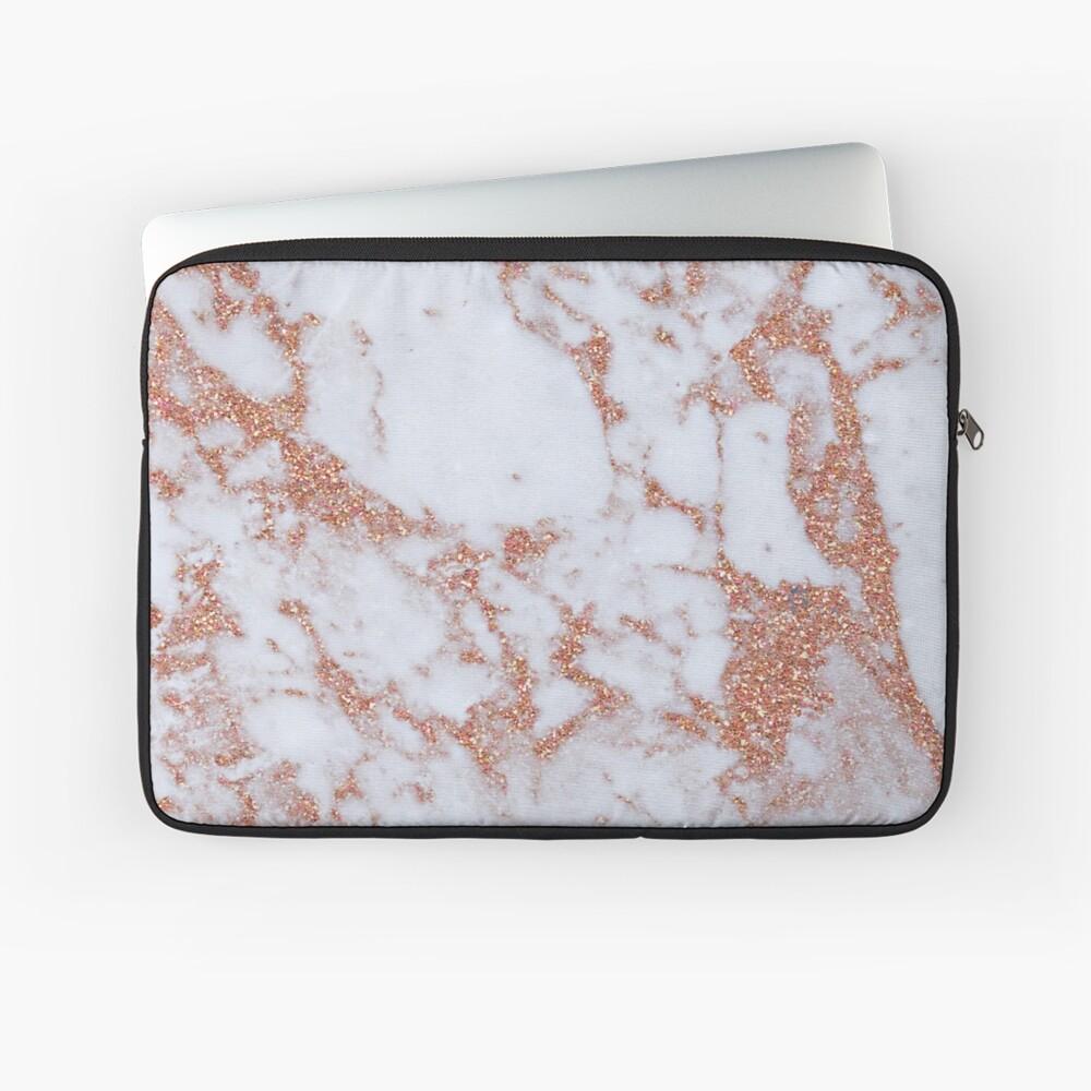Intensiver Roségold-Marmor Laptoptasche