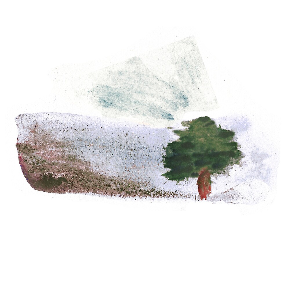 Lonely Tree in a Windy Day Watercolor by Anna Lemos