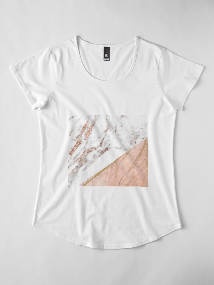 Alternate view of Rose gold marble blended Premium Scoop T-Shirt