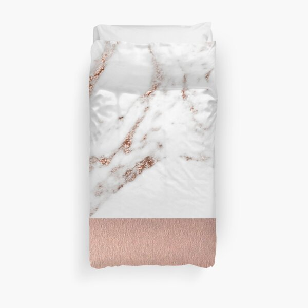 Rose gold marble and foil Duvet Cover