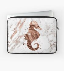 Rose gold marble seahorse Laptop Sleeve
