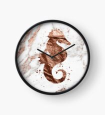 Rose gold marble seahorse Clock