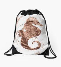 Rose gold marble seahorse Drawstring Bag