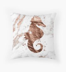 Rose gold marble seahorse Throw Pillow