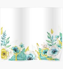 Mint gold flowers Poster