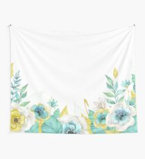 Mint gold flowers Wall Tapestry
