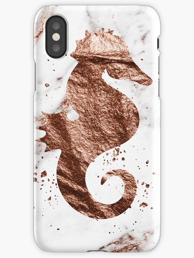 Rose gold marble seahorse by peggieprints