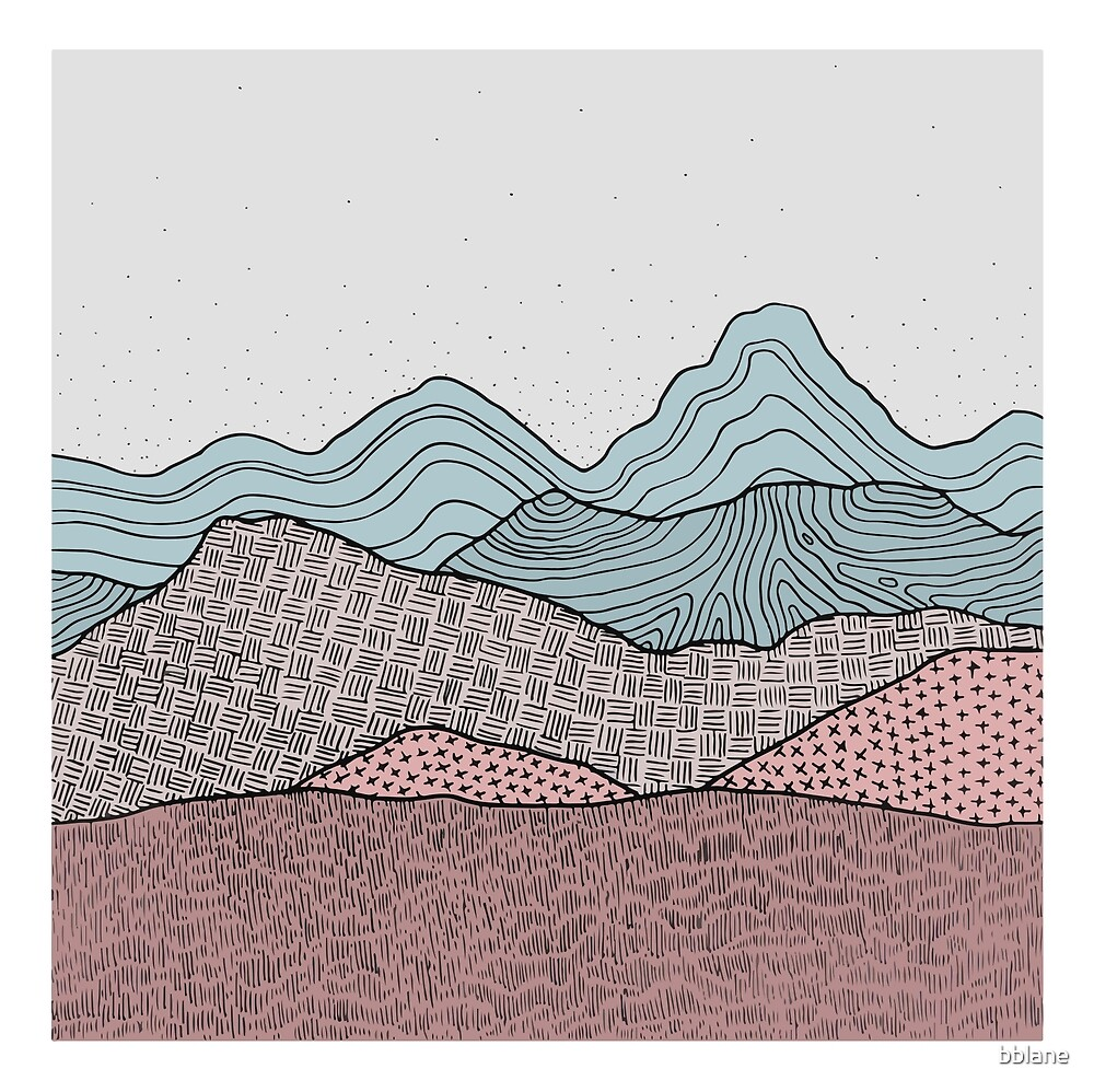 Early Morning Hills, Simple Landscape Illustration by bblane