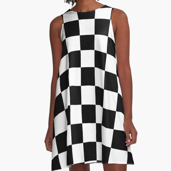Checkered Flag, WIN, WINNER, Chequered Flag, Motor Sport, Racing Cars, Race, Finish line, BLACK. A-Line Dress