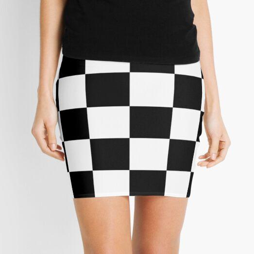 Checkered Flag, WIN, WINNER, Chequered Flag, Motor Sport, Racing Cars, Race, Finish line, BLACK. Mini Skirt