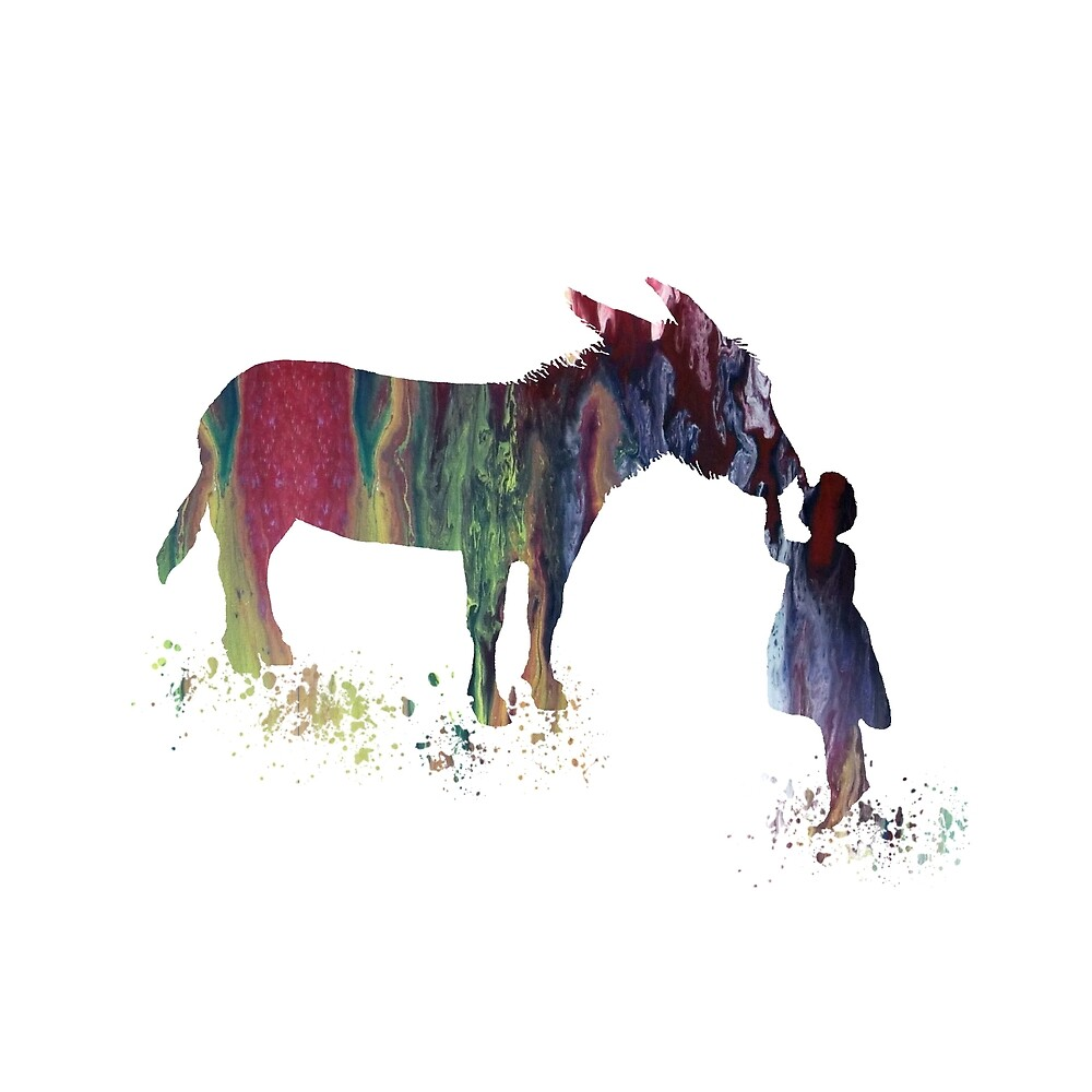 Donkey and child, watercolor art by TheJollyMarten