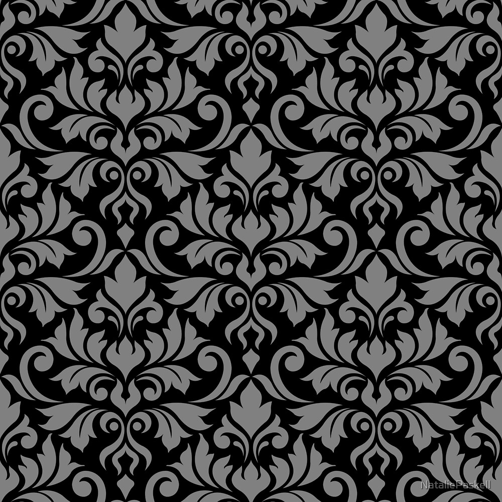 Flourish Damask Pattern Gray on Black by NataliePaskell