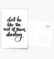 'Don't be Like the Rest of Them, Darling' Calligraphy Postcards