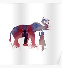 elephant and child, water color art Poster