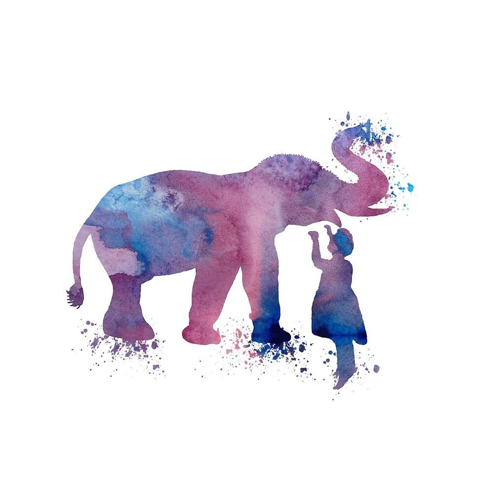 Elephant and child, water colour art by TheJollyMarten
