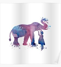 Elephant and child, water colour art Poster