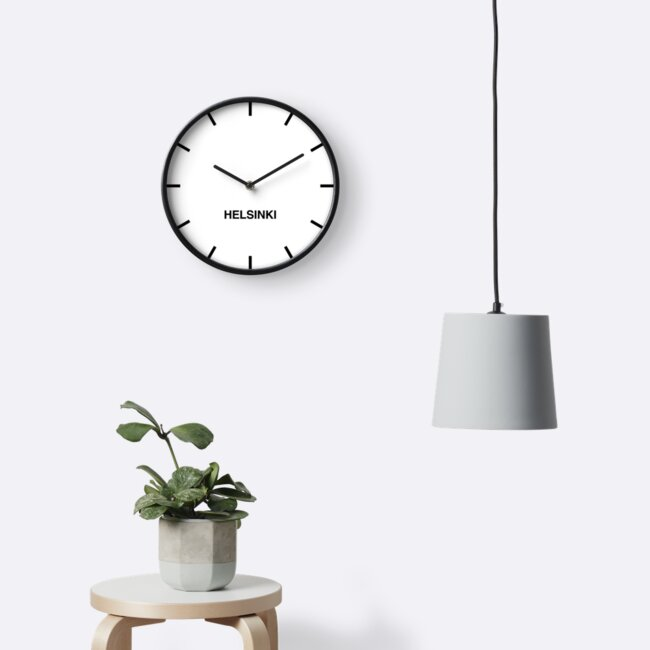 Helsinki Time Zone Newsroom Wall Clock by bluehugo