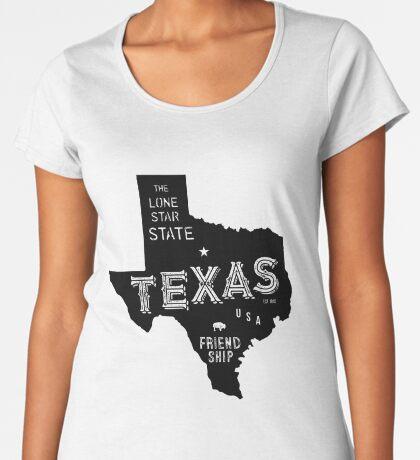 Texas State Shape & Motto & Nickname Premium Scoop T-Shirt