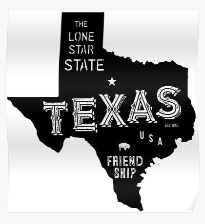 Texas State Shape & Motto & Nickname Poster