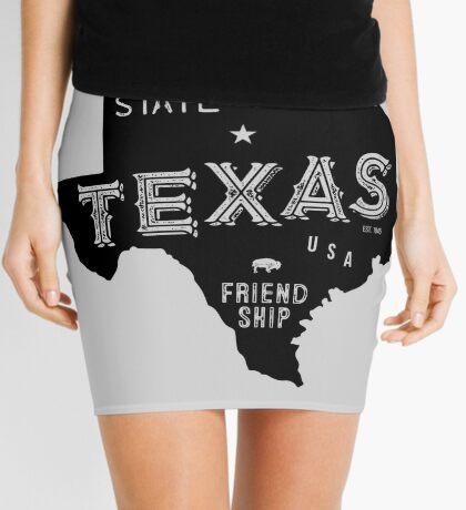 Texas State Shape & Motto & Nickname Mini Skirt