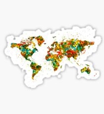 Map of the World watercolor Sticker