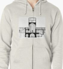 Tannenberg Memorial, Hindenburg Tower plan and crypt, Germany Zipped Hoodie