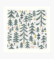 winter woods pattern Art Print