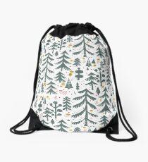 winter woods pattern Drawstring Bag