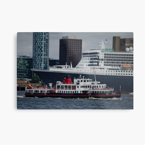 cruise ships  Liverpool Pier head Metal Print