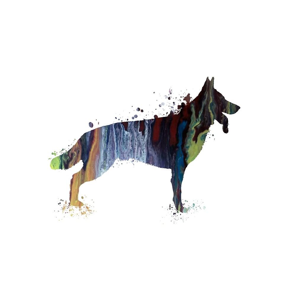 Watercolor german shepherd by TheJollyMarten
