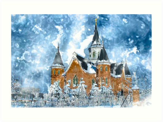 Provo City Center LDS Temple in Winter watercolor by melodyrosemedia