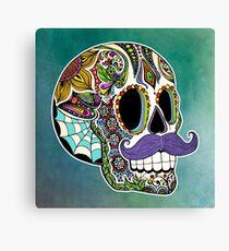 Mustache Sugar Skull (Color Version) Canvas Print