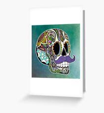 Mustache Sugar Skull (Color Version) Greeting Card