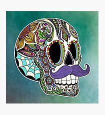 Mustache Sugar Skull (Color Version) Photographic Print
