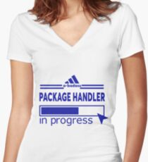 PACKAGE HANDLER Women's Fitted V-Neck T-Shirt