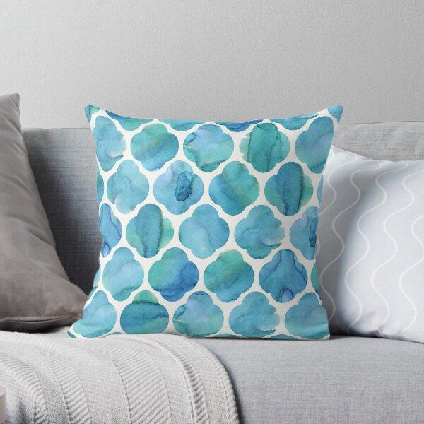 Moroccan Tile Watercolour Blue Throw Pillow
