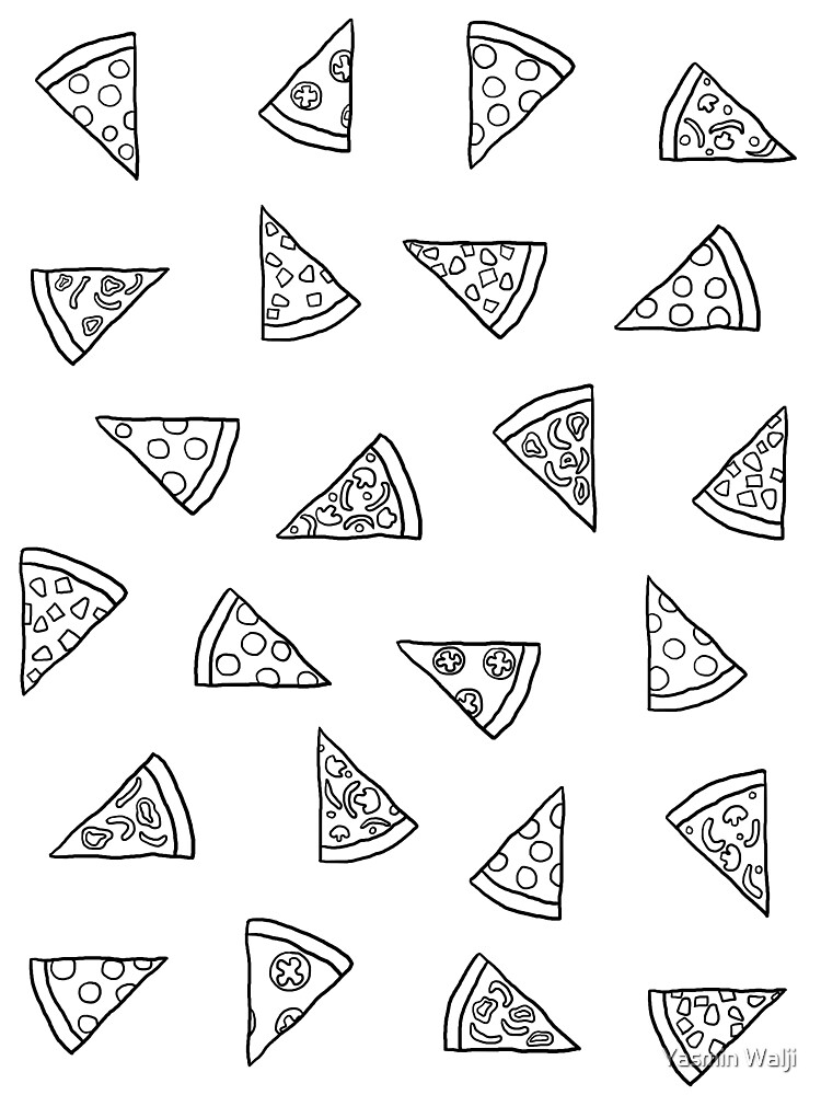 Pizza Pattern (black on white) by Yasmin Walji