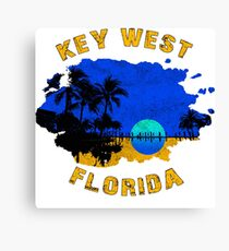 KEY WEST FLORIDA VINTAGE DISTRESSED OCEAN BEACH SUNSET Canvas Print