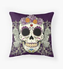 Vintage Skull and Flowers Throw Pillow