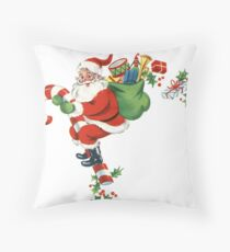 Retro Candy Cane Santa Delivering Presents Throw Pillow