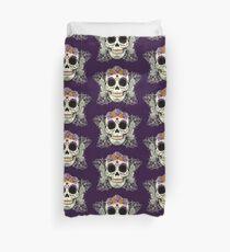 Vintage Skull and Flowers Duvet Cover