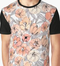Pink Inky Floral - Watercolor Flowers Graphic T-Shirt