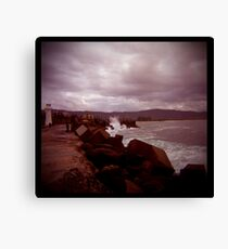 little lighthouse and breakwater Canvas Print