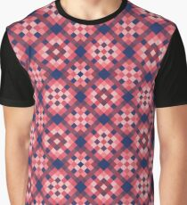 Blue Red Square Pattern Graphic T-Shirt