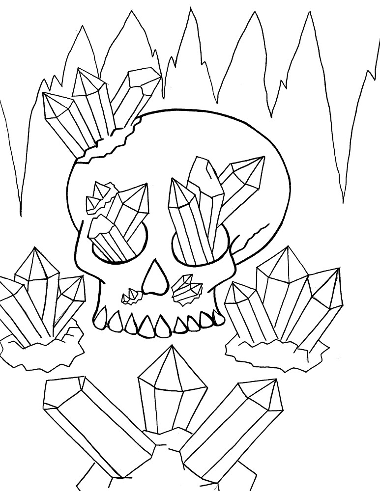 Skull and Quartz Line Art by BDrawsStuff