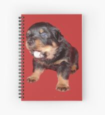 Rottweiler Puppy with Funny Cute Geeky Expression Spiral Notebook