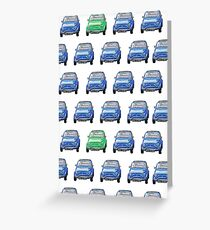 Blue and Green Classic Fiat 500 Collage Greeting Card